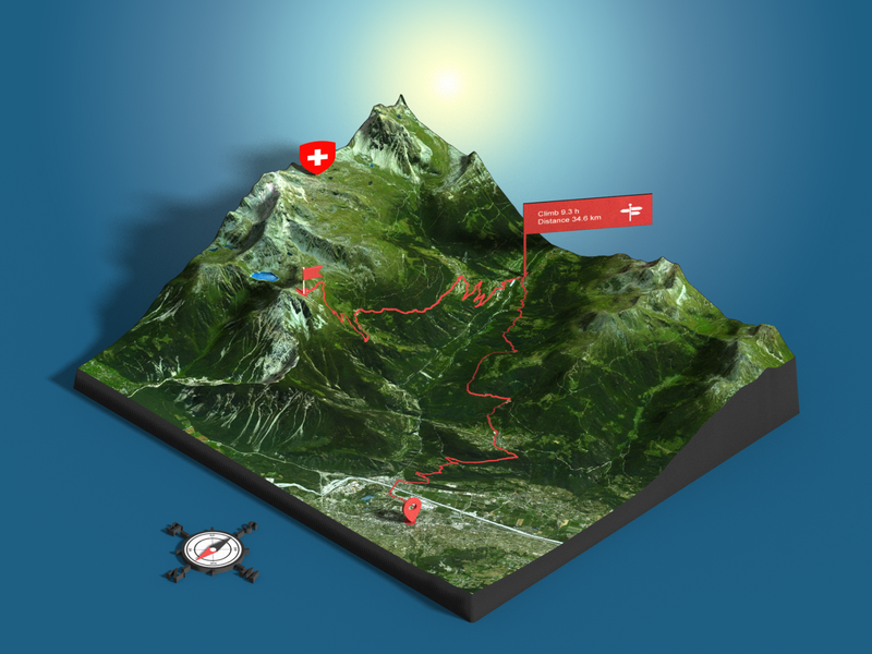 Bella Tola - Switzerland - Photoshop 3D map render - GPX route route gpx 3d-map heightmap generator map 3d plugin photoshop