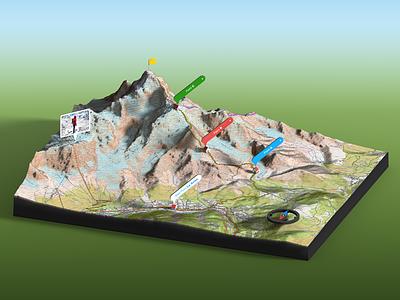 Tour du Mont Blanc - 3D Map Scene Photoshop Render route gpx climbing compass infographic illustration france extension panel 3d generator map plugin photoshop