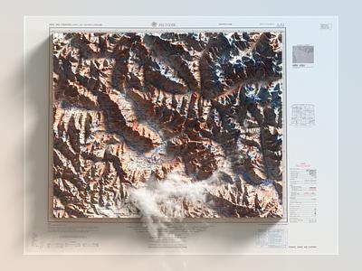 Jammu and Kashmir - 3D Photoshop Render illustration heightmap extension mundik pakistan cartography render 3d-map-generator 3d generator map plugin photoshop