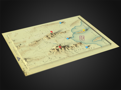3D Photoshop Render - Utha - Tooele Valley depth of field render salt lake utha historic 3d map generator extension panel 3d generator map plugin photoshop