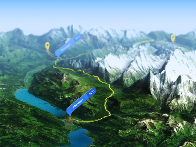 Grindelwald, Switzerland - Photoshop 3D render interlaken route path gpx depth of field icon illustration panel generator map plugin photoshop 3d art