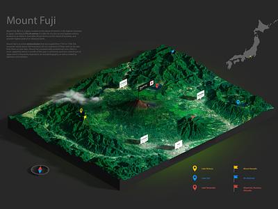 Mount Fuji - 3D Map - Test Render japan heightmap 3d map generator map 3d plugin generator illustration infographic vulcano mountains photoshop