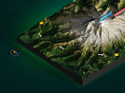 Mount Rainier  - GPX track 3D Map - Photoshop Render gpx track route compass vulcan mountain plugin 3d map generator illustration extension 3d map photoshop usa washington