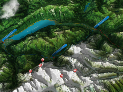 Grindelwald 2 - Photoshop 3D Map Render swiss gps mountainbike hiking track route 3d map generator 3d grindelwald infographic mountains eiger extension heightmap map plugin photoshop