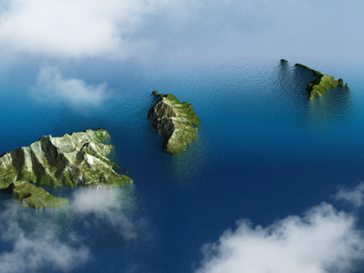 Islands - Photoshop water body material test clouds 3d map generator illustration plugin heightmap 3d isle sea water photoshop