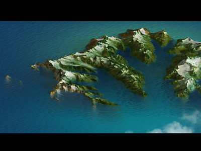 Island - Photoshop water body material test illustration 3d map generator extension heightmap map photoshop 3d 3d map mountains hills isle ocean water