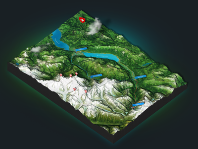 Grindelwald 3 - Photoshop 3d map render alps 3d map generator heightmap mountains swiss 3d map plugin photoshop