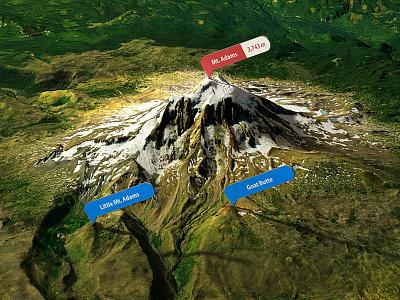 Mount Adams - Photoshop 3D map render 3d map generator heightmap 3d plugin photoshop