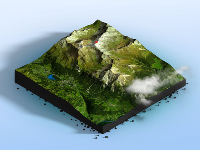 Alps - Photoshop 3D Map Render gravel rubble clouds 3d map generator heightmap 3d map photoshop