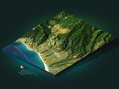 L.A. - 3D Map Render Photoshop extension heightmap map 3d 3d map generator plugin photoshop los angeles pacific ocean santa monica america usa