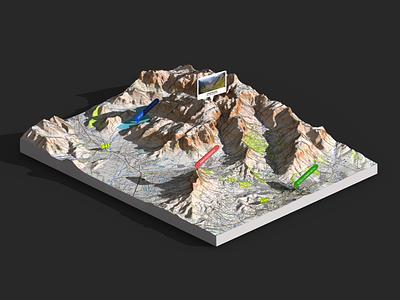 Stellenbosch - 3d map render Photoshop heightmap illustration extension 3d map generator openstreetmap map 3d generator plugin photoshop south africa