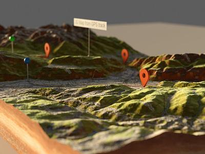 Depth of Fields - 3D Map marker pin cycles render 3d map blender