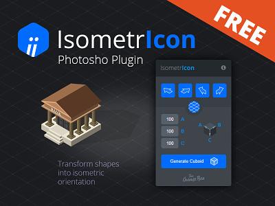 IsometrIcon - Free Photoshop Plugin panel extension freebie builder icon vector cuboid photoshop transform isometric