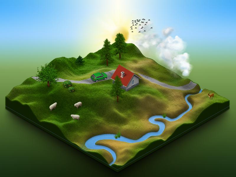 Terrain Test - 09 - 3D Map Generator by Michael Tzscheppan on Dribbble