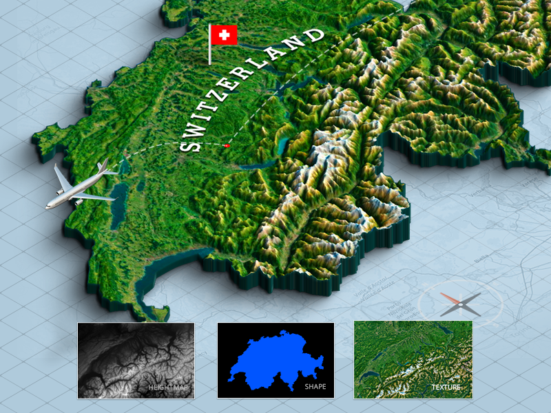 3d Map From A Shape - Switzerland by Michael Tzscheppan on