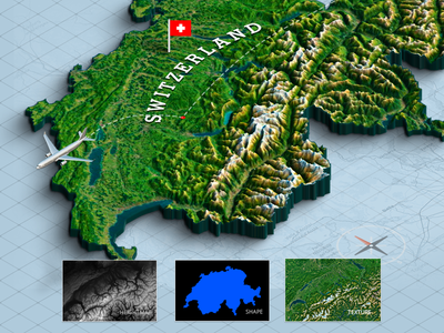 3d Map From A Shape - Switzerland surface terrain ui panel plugin height map photoshop map generator
