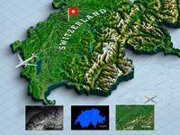 3d Map From A Shape - Switzerland
