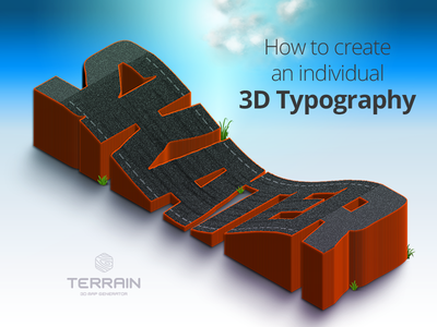 Tutorial - How To Create An Individual 3D Typography plugin terrain skateboard track typography 3d height map photoshop map generator