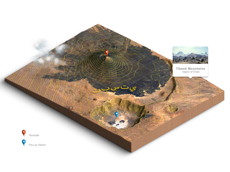 Tibesti top view and 3d map