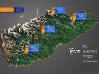 Weather Map of Bhutan - 3D Map Generator Atlas