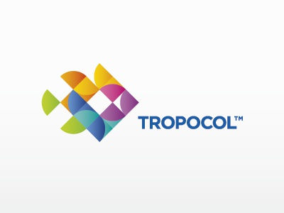 Tropocol matjak logo color colorful bright fish shapes