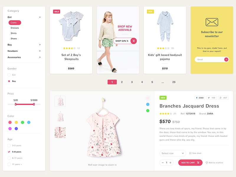 Ecommerce website design for a kids store