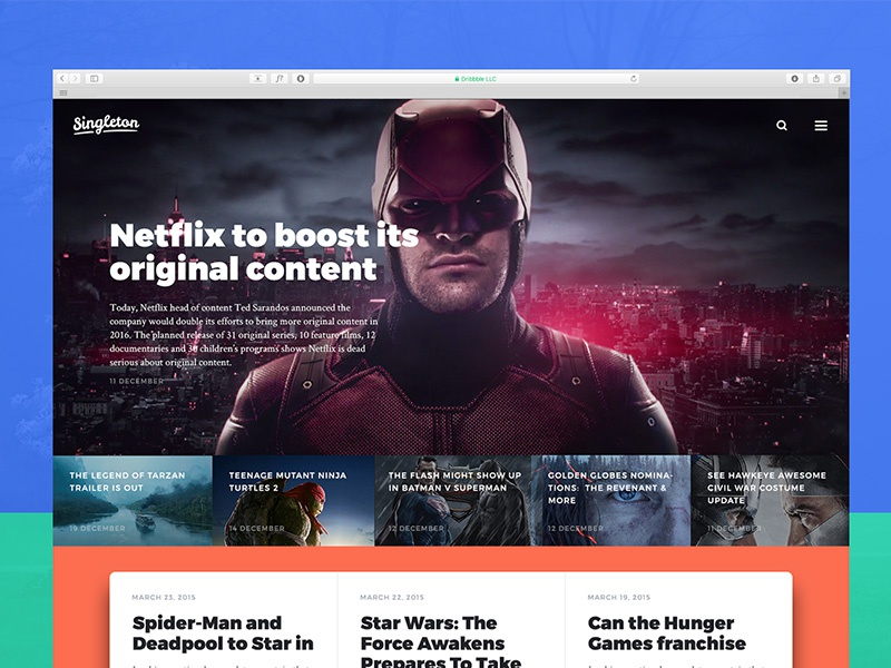 Movies news site design psd template photoshop ui kit movie news web design website