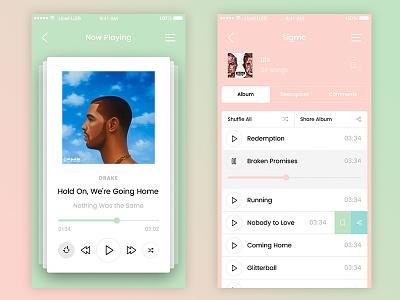 Music player and album app design player album app design mobile psd template photoshop sketch iphone ios