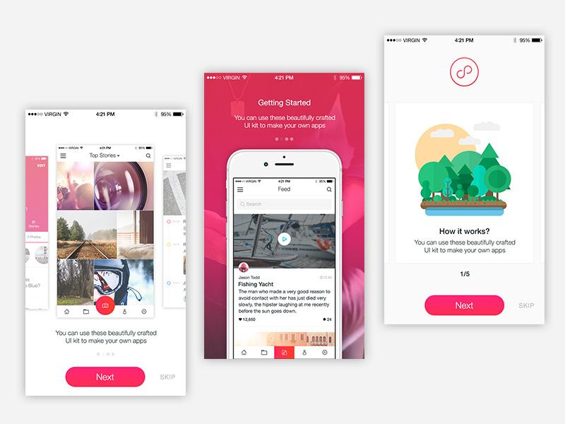 Modern walkthrough designs iphone ios onboarding walkthrough photoshop template psd ui kit app design mobile