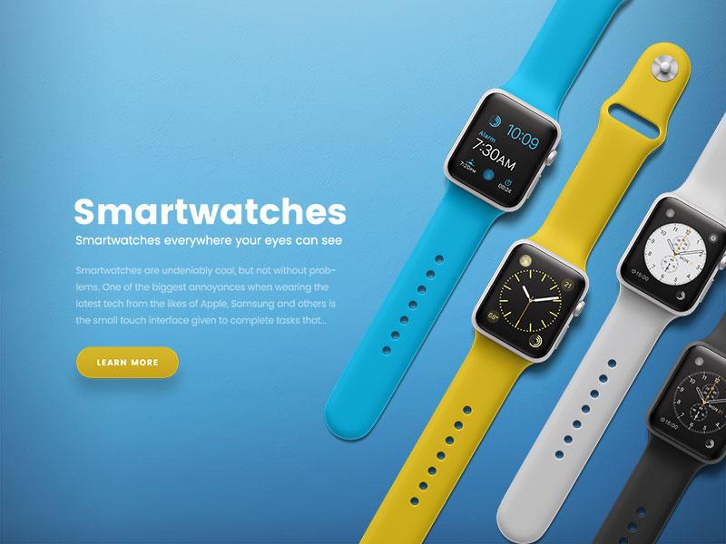 Hero image web design website apple watch smartwatch header hero image scene generator mockup