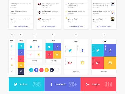 Social widgets google plus twitter web design website facebook psd template sketch photoshop ui kit social media