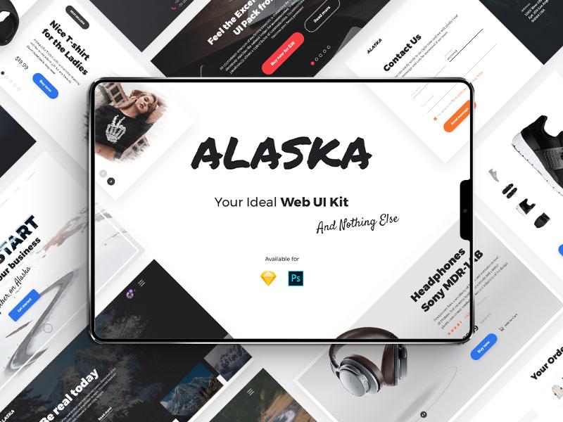 Alaska UI Kit user interface ui kit uiux ecommerce portfolio walkthrough profile menu sketch photoshop ui