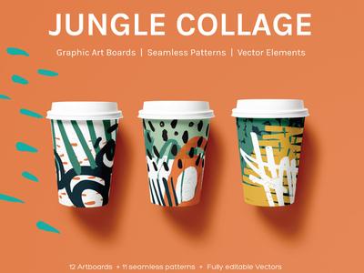 Jungle Collage - Artboards + Seamless Patterns