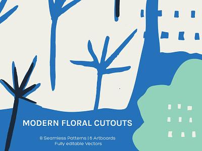 Modern Floral Cutouts – Art Boards + Seamless Patterns texture pattern seamless artboard cutout floral modern