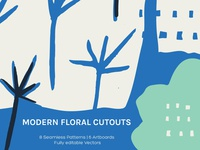 Modern Floral Cutouts – Art Boards + Seamless Patterns