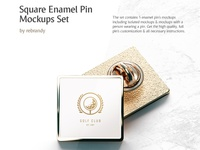 Square Enamel Pin Mockups Set