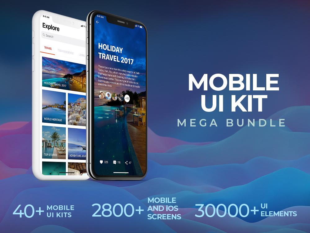 Mobile UI Kit Mega Bundle – 40+ UI Kits | 2,800+ Screens by