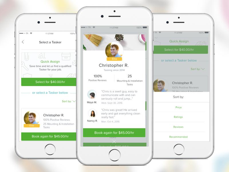 Select a Tasker by Zoe Sinner for TaskRabbit Design on Dribbble