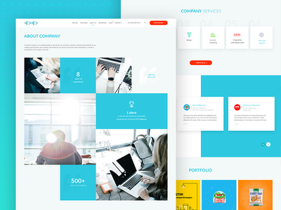 About company page website ui ux site interface clean minimal illustration header blue about company agency digital