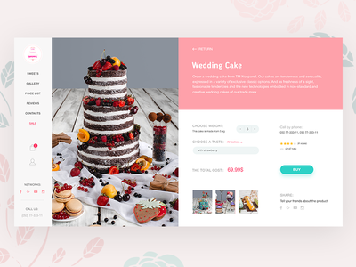 Cakes and sweets - I like it card website ux ui site minimal clean cake desserts