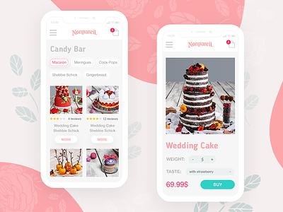 Sweets shop - Nonpareil website ux ui site minimal desserts clean card cake