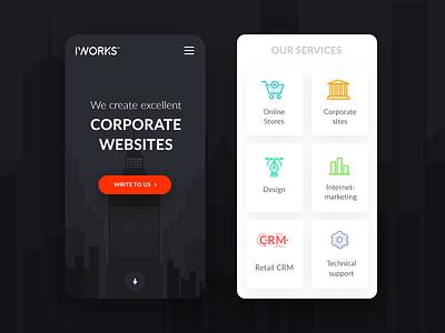 Services page - corporate websites - responsive version website ux ui site online minimal interface illustration digital clean agency