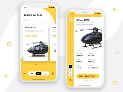 Private Helicopter Rental - App Concept