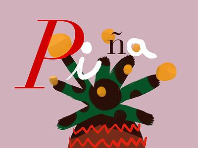 P de piña illustration type illustrator pineapple piña draw