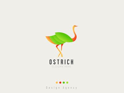 Ostrich bird - gradient Logo design brand logo bird branding ostrich vector animal ostrich color gradient funny ostrich