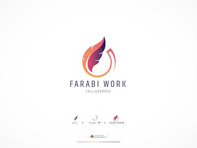 Calligraphy Logo For Farabi Work logo design illustration gradient logo brand identity design agency minimal mark branding graphic design logo