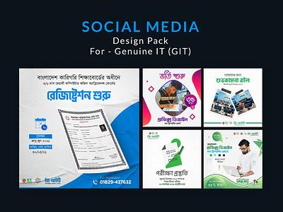 Social Media Pack for Genuine IT (GIT) social media design template instagram post design facebook post design advertising social media design social media design design agency graphic design