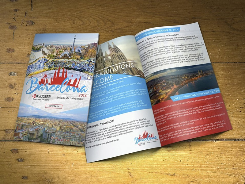 Kyocera LAD Tour Booklet print booklet brochure spain logo branding barcelona travel colorful