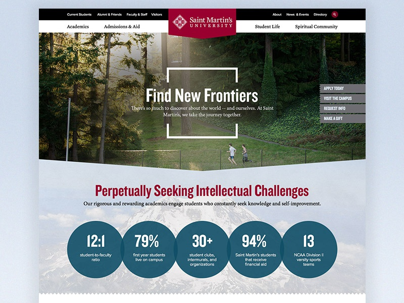 St. Martin's Homepage Concept university college higher ed highered website webdesign layout web