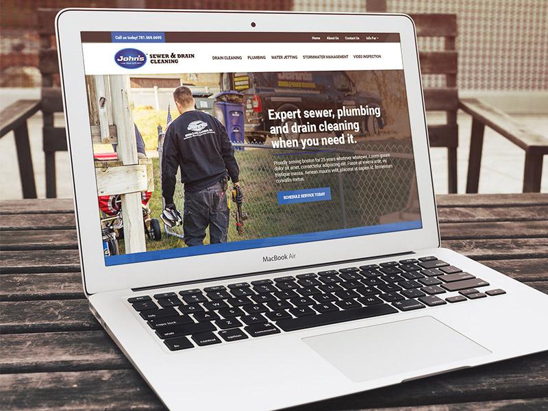 John's Drains Concept mockup macbook business website webdesign layout web